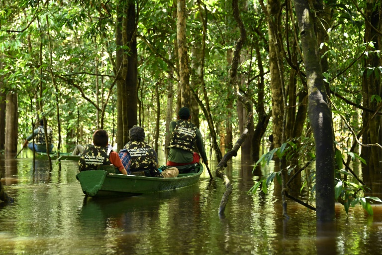 Turistas navegam na floresta amazônica inundada na Reserva Mamirau, a maior área protegida do Brasil.