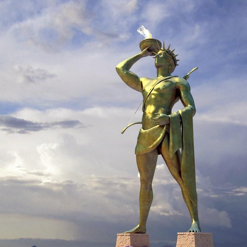 O Colosso de Rodes, por exemplo, elevava-se a 33,5 metros acima do Mar Mediterrâneo, até que um terremoto pôs o gigante de bronze de joelhos.