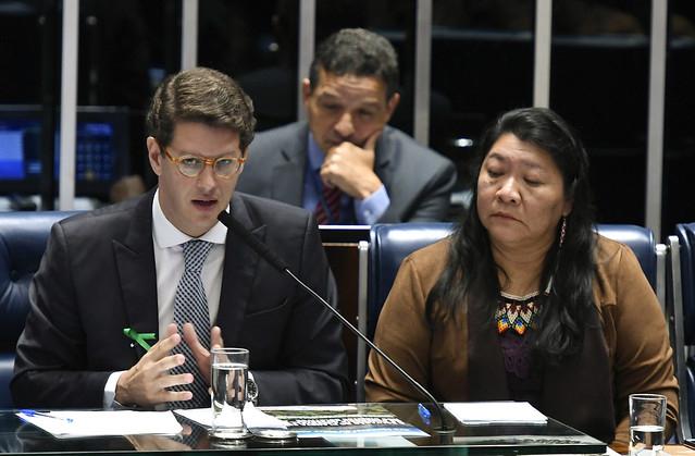 Ministro de Estado do Meio Ambiente, Ricardo Salles - em pronunciamento; deputada Joênia Wapichana (Rede-RR)