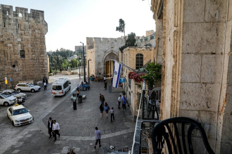 O Portão de Jaffa visto da sacada do Novo Hotel Imperial, na Cidade Velha de Jerusalém