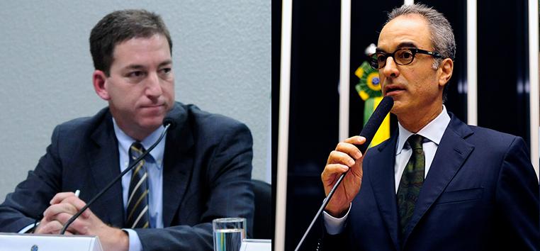 Greewald (E) foi criticado no The Guardian em artigo assinado por João Roberto Marinho (D), presidente do Conselho Editorial do Grupo Globo.