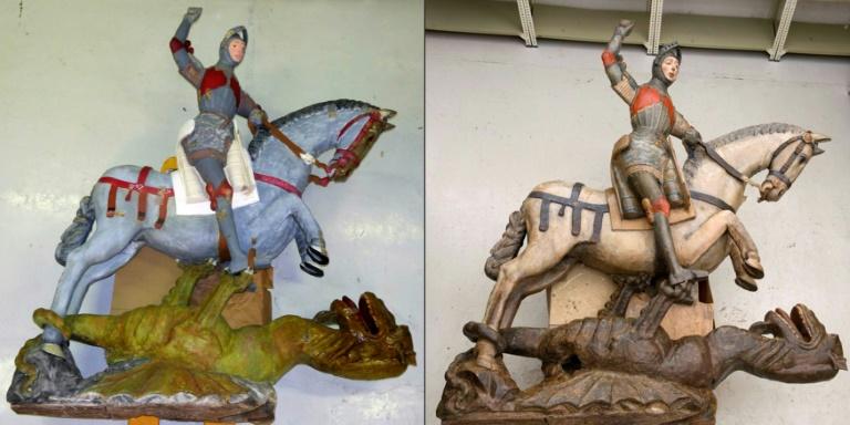 A estátua de São Jorge restaurada por populares (D) e depois por profissionais