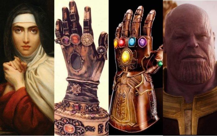 Teresa de Ávila, o relicário, a Manopla Infinita e o vilão Thanos.