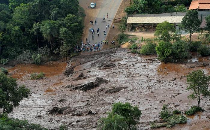 Vista aérea do rompimento da barragem de Feijão, da Vale, em Brumadinho (MG).