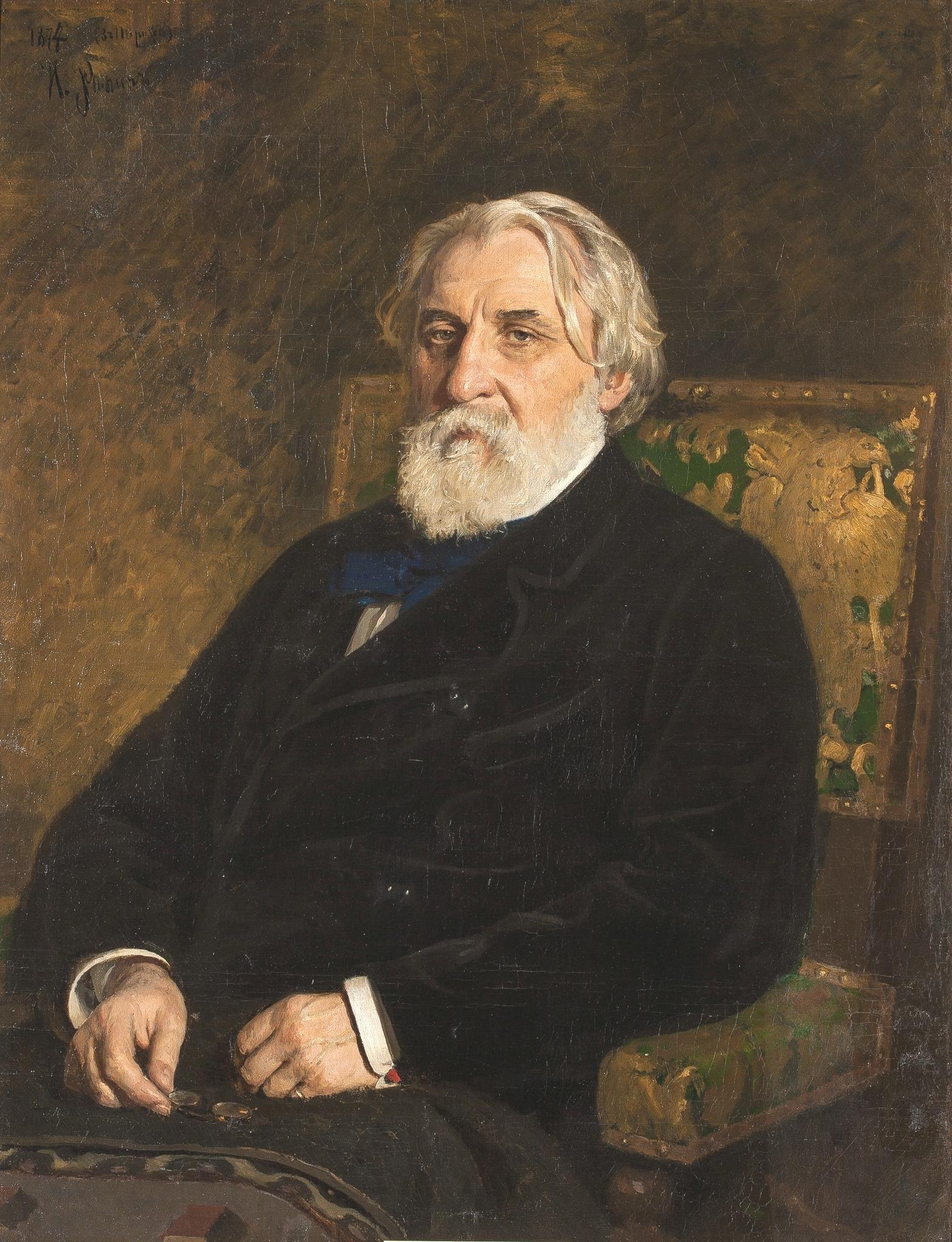 Detalhe de 'Retrato de Ivan Turguêniev', realizado pelo pintor russo Ilya Repin, também autor da pintura que ilustra a capa do livro