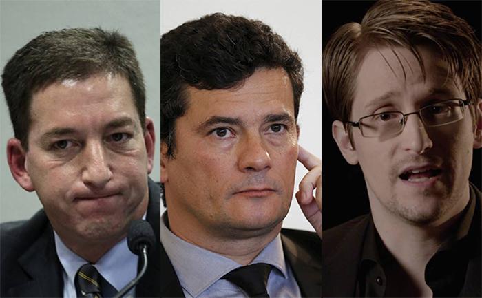 Greenwald, Moro e Snowden: escândalo sob investigação.