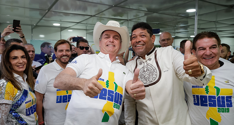 Bolsonaro ao lado de bispa Sônia e pastor Waldomiro Santiago na 27ª edição da Marcha para Jesus 2019. (Isac Nóbrega/PR)