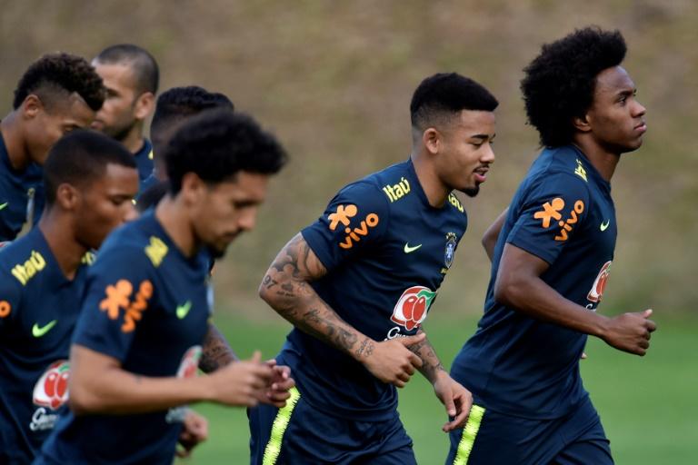 Jogadores do Brasil treinam em Belo Horizonte na Cidade do Galo, centro de treinamento do Atlético.