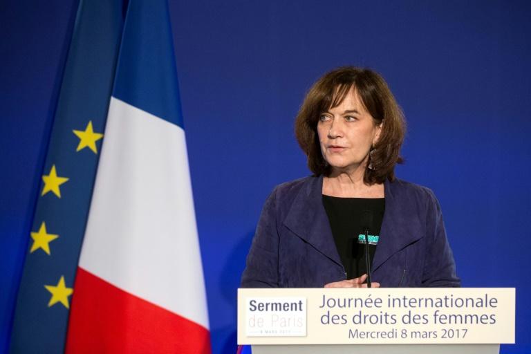 A então ministra da Família, Infância e Direitos das Mulheres, Laurence Rossignol, em 8 de março de 2017 em Paris.