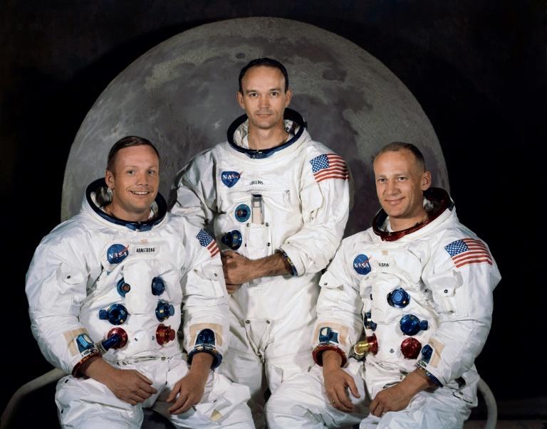 (A partir da esquerda) A equipe da Apolo 11, em março de 1969: Neil A. Armstrong, Michael Collins e Edwin E. Aldrin