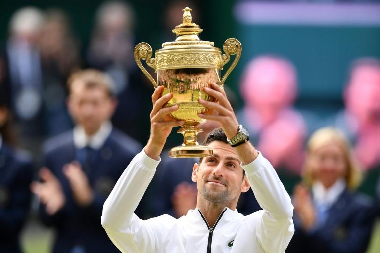 Novak Djokovic ergue o troféu em Wimbledon.