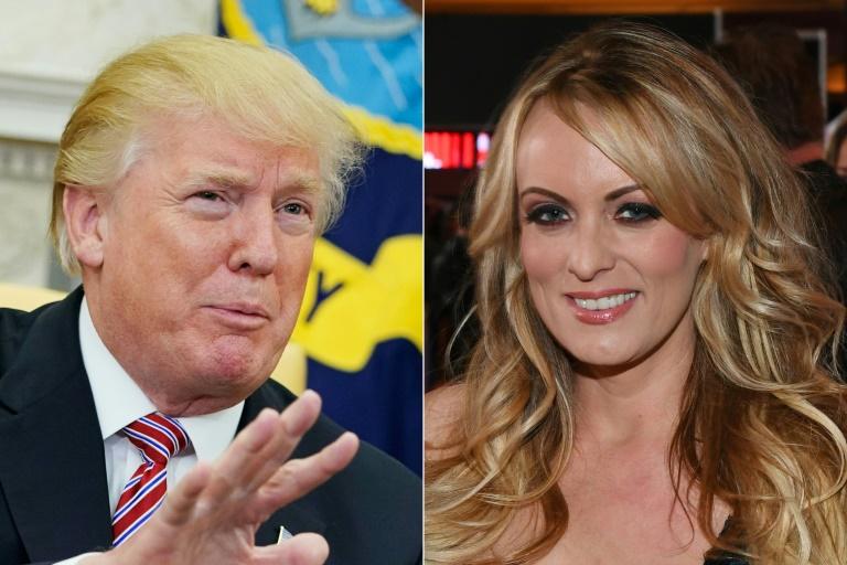 O presidente dos EUA, Donald Trump, e a atriz de filme pornô Stormy Daniels; os documentos revelados minam a defesa de Trump.