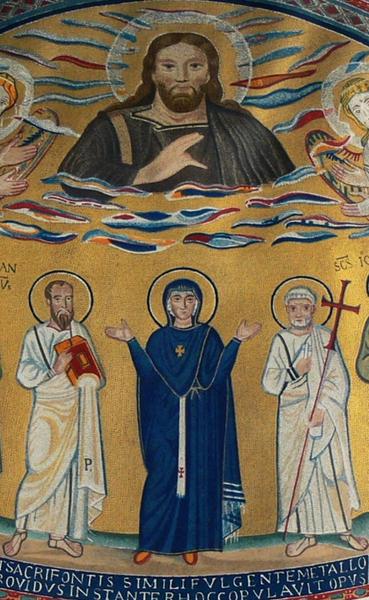 Mosaico oculto de Maria com o pálio episcopal com uma cruz vermelha, Capela de São Venâncio, Batistério de Latrão.