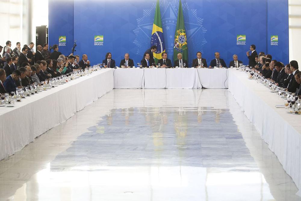 Bolsonaro recebe bancada da Frente Parlamentar Evangélica em 11 de Julho, dia seguinte ao da aprovação da reforma da Previdência em primeiro turno na Câmara dos Deputados.