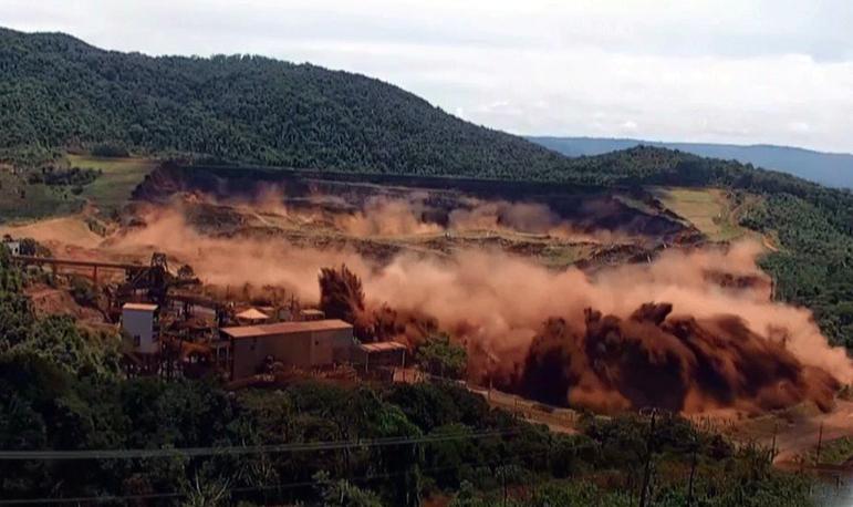 Momento exato do rompimento da barragem em Brumadinho