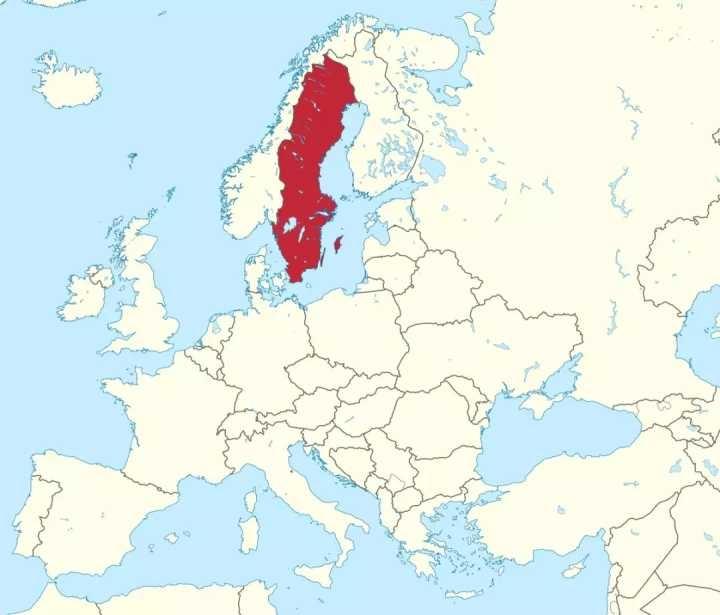 A Suécia dentro da Europa.
