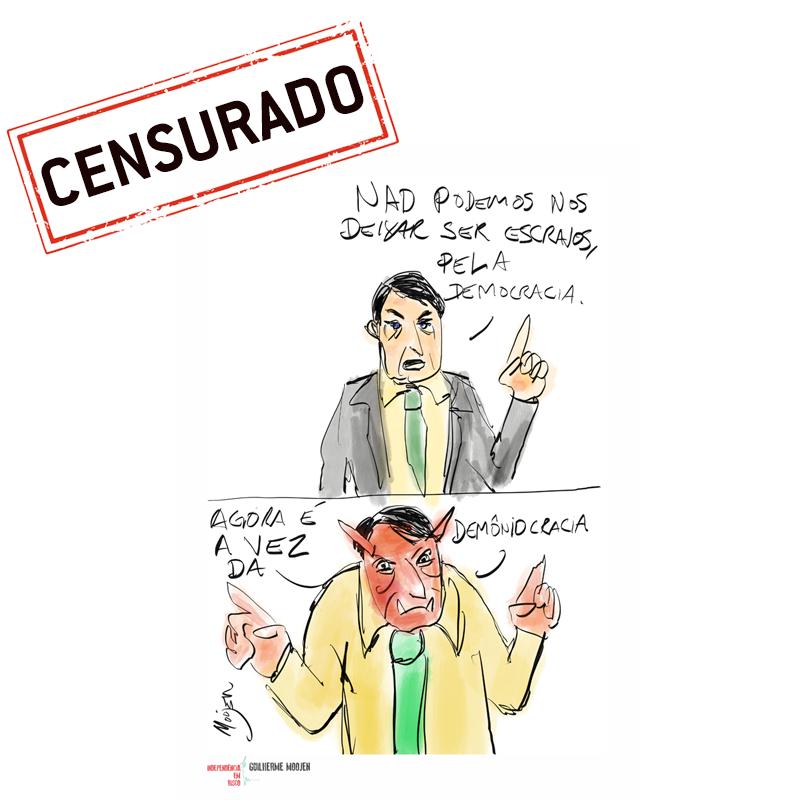 A exibição batizada de 'O riso é risco - Independência em risco' trazia 36 obras de 19 cartunistas.