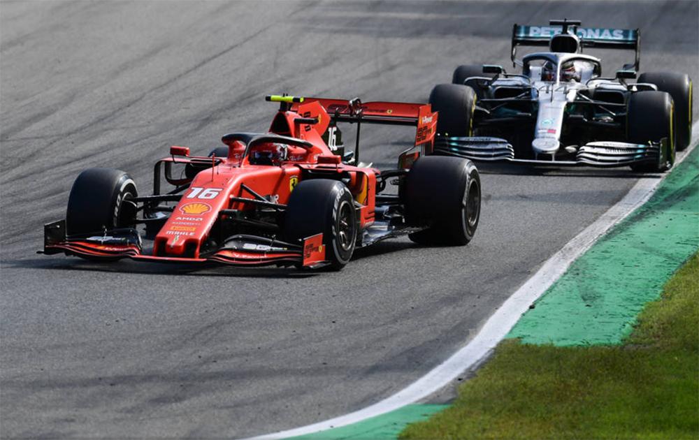 Charles Leclerc e Lewis Hamilton GP de Monza.