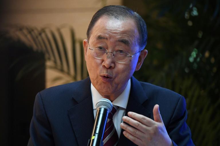 Ex-Secretário Geral da ONU, Ban Ki-moon, na apresentação do relatório da Comissão de Adaptação Global em Pequim, China