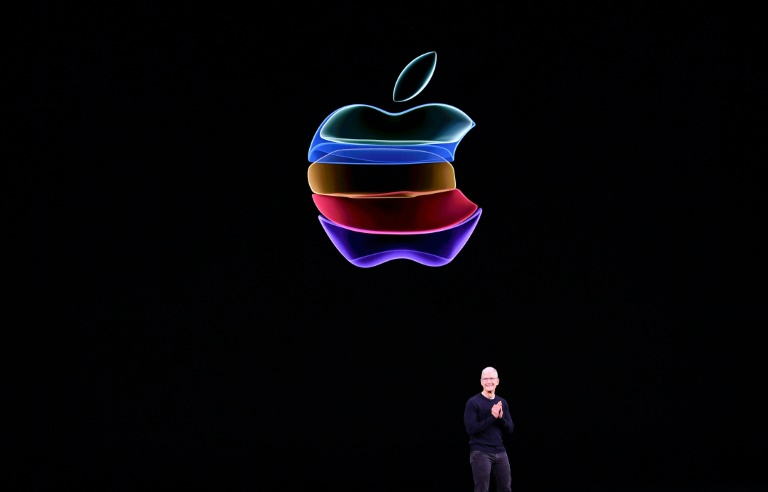 CEO da Apple, Tim Cook, no evento anual da empresa na sede principal de Cupertino, na Califórnia