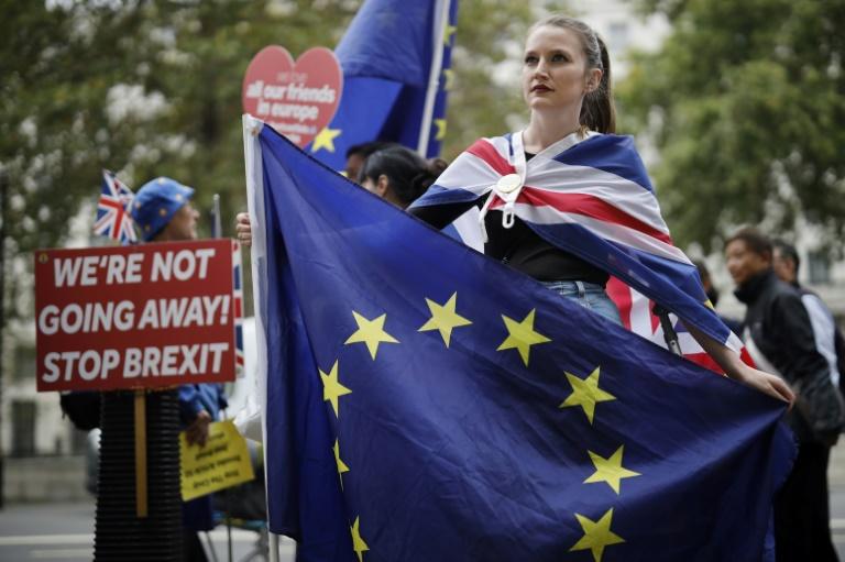 Ativistas anti-Brexit protestam perto de Downing Street, em Londres