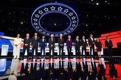 Pré-candidatos democratas se apresentam para o debate em Westerville, em 15 de outubro de 2019 (AFP)
