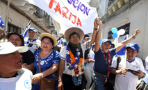 Presidente Evo Morales em ato de campanha pela reeleição em Tarijas, sul da Bolívia (Bolivian Presidency/AFP)