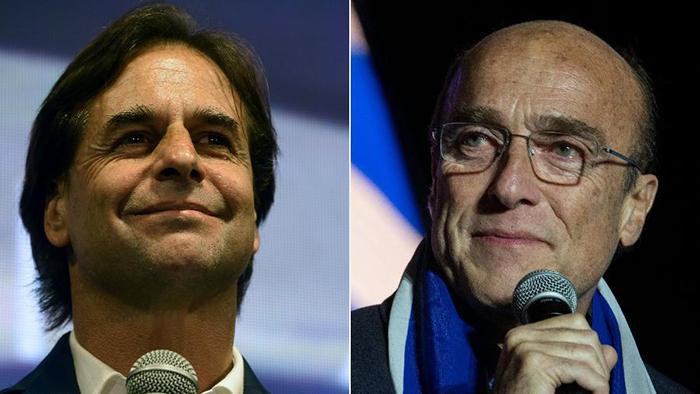 Os candidatos Luis Lacalle Pou e Daniel Martinez