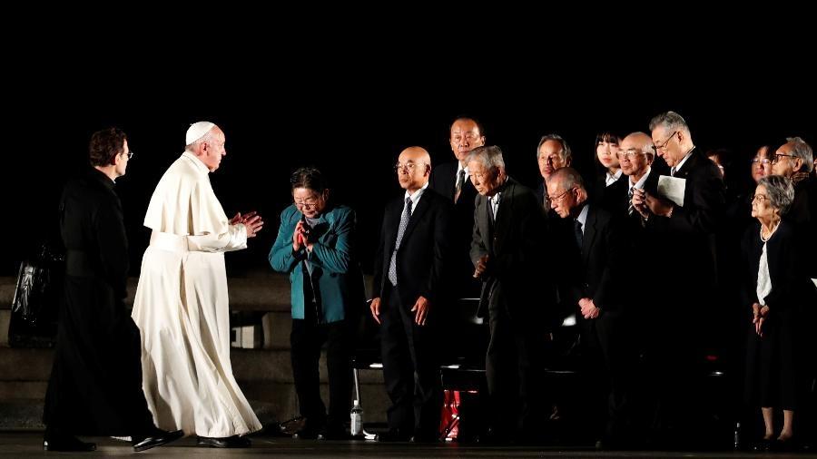 Na semana passada, papa se encontrou sobreviventes do ataque nuclear de Hiroshima, no Japão