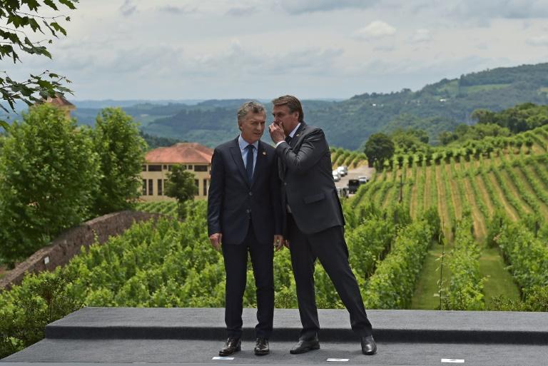 O presidente Jair Bolsonaro (E) dialoga com o da Argentina, Maurício Macri, na cúpula do Mercosul, em Bento Gonlçalves