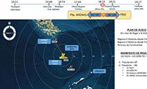 Plano de voo e última localização da aeronave, divulgados pela Força Aérea do Chile (Força Aérea do Chile)