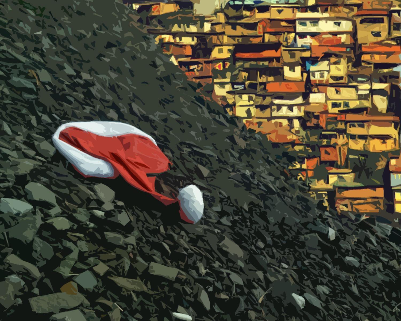 Na mochila, Milito trazia mais um adorno que encontrou no lixo da cidade para compor seu presépio na favela