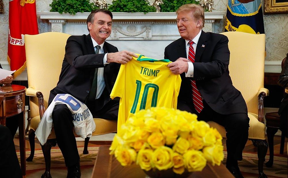Bolsonaro e Trump, durante encontro em março de 2019: Itamaraty reforça linha ideológica do presidente