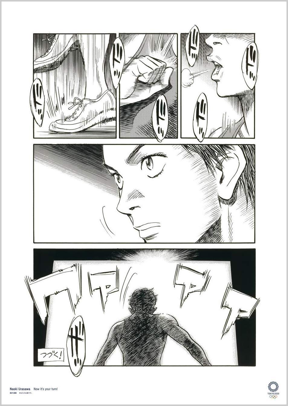 Naoki Urasawa (Artista de Manga) Cartazes oficiais para os Jogos Olímpicos e Paralímpicos Tóquio 2020
