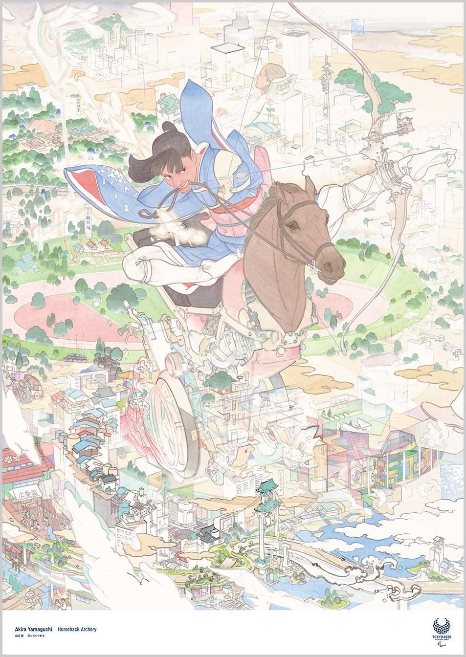 Akira Yamaguchi (Pintor) Cartazes oficiais para os Jogos Olímpicos Tóquio 2020