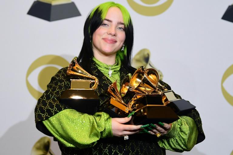 A cantora Billie Eilish, grande vencedora do Grammy
