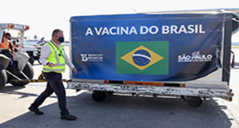 Chegada do novo lote da vacina do Butantan no aeroporto de Guarulho no dia 18 de dezembro (Governo do Estado de SP)