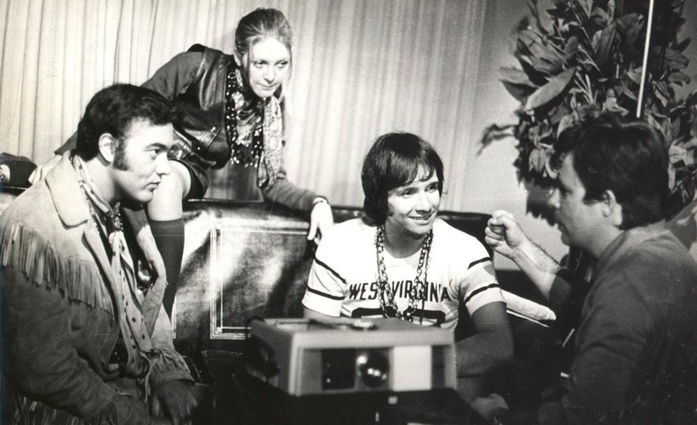 Roberto Carlos, Erasmo Carlos e Wanderléa durante a gravação do filme Roberto Carlos e o Diamante Cor de Rosa