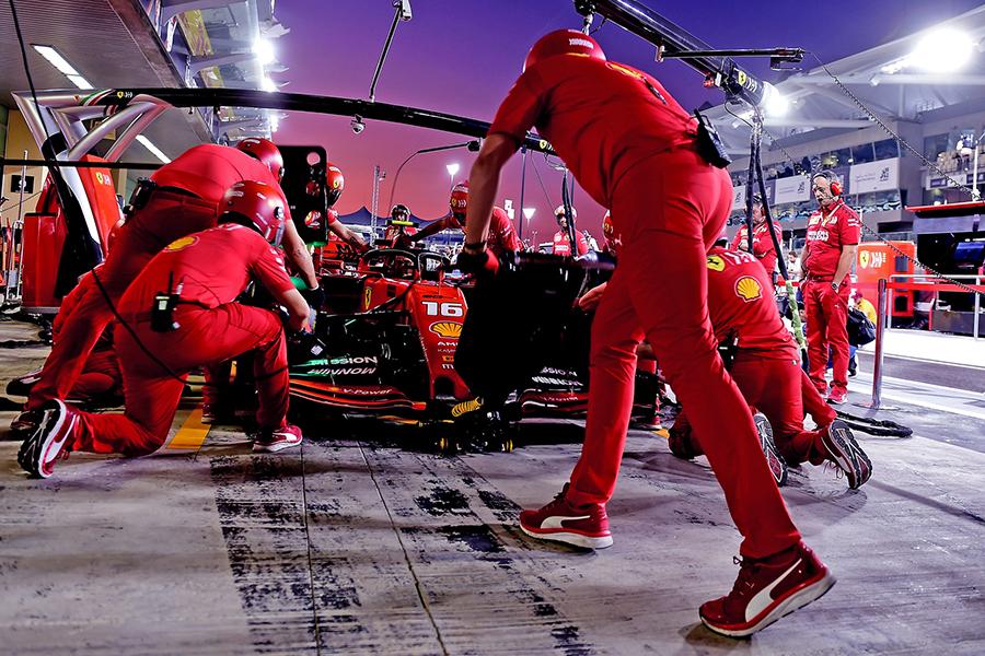 Ferrari em Abu Dabhi para a última prova do ano, em 2019