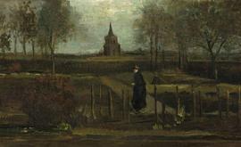 Esta foto divulgada em 30 de março de 2020 pelo Museu Groningen mostra a pintura de Vincent van Gogh em 1884, Parsonage Garden at Neunen in S=spring, que foi roubada do Museu Singer Laren (Groninger Museum/AFP)