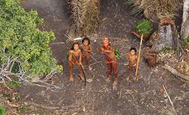 Grupo de indígenas isolados sente-se ameaçado diante de avião que sobrevoa acampamento feito por eles na floresta Amazônica (AFP)