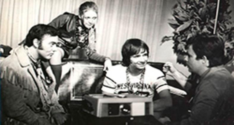 Roberto Carlos, Erasmo Carlos e Wanderléa durante a gravação do filme Roberto Carlos e o Diamante Cor de Rosa (Wikipedia/Arquivo Nacional)