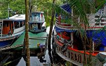 Barcos regionais às margens do rio Juruá na comunidade Bauana, Reserva e Desenvolvimento Sustentável de Uacari, município de Carauari, a 788 km de Manaus, Amazonas, 14 de março de 2020 (AFP)
