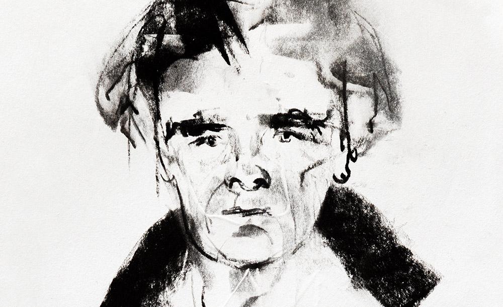 Retrato do autor por Ewa Klos: tormento e premonição