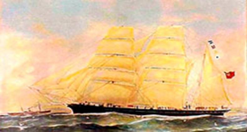 Conrad foi capitão do Bark Otago, aqui ilustrado na primeira edição de Sea Mirror (1906) de acordo com instruções do autor (Wikimedia)