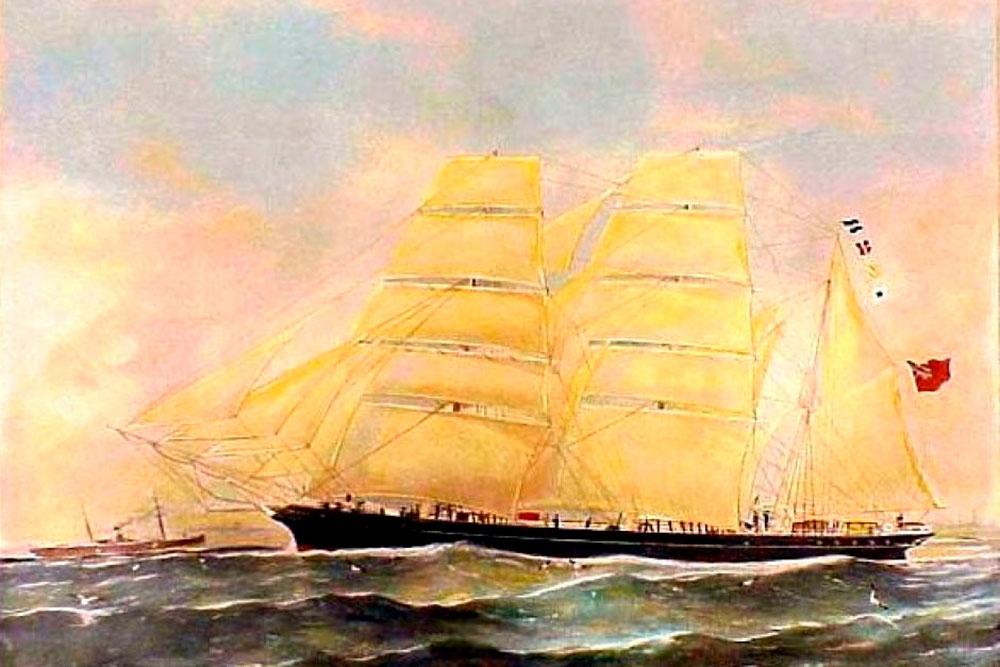 Conrad foi capitão do Bark Otago, aqui ilustrado na primeira edição de Sea Mirror (1906) de acordo com instruções do autor