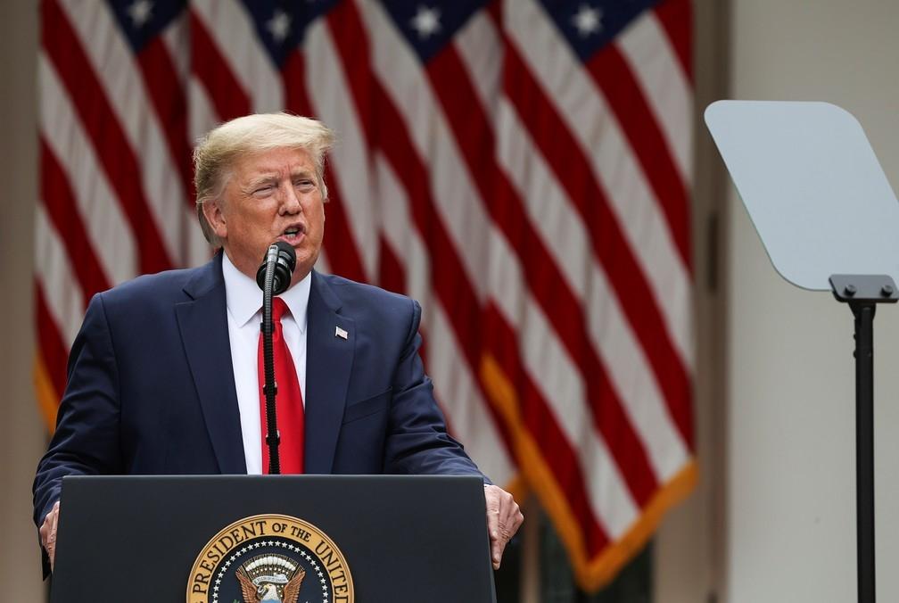 Presidente dos EUA, Donald Trump, durante coletiva na Casa Branca nesta sexta-feira (29)