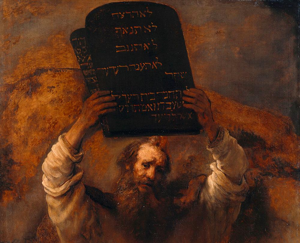 Fragmento de 'Moisés com os Dez Mandamentos', de Rembrandt