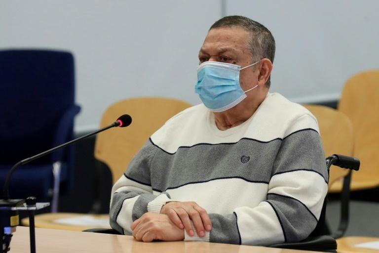 O ex-coronel salvadorenho e vice-ministro da Defesa Innocent Montano comparece em um julgamento por sua suposta participação no assassinato de seis padres jesuítas espanhóis e dois colaboradores, em 8 de junho de 2020 em Madri