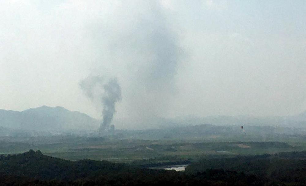 Fumaça é vista na área externa do complexo industrial de Kaesong